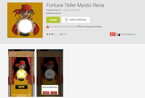 mystic rena fortune teller